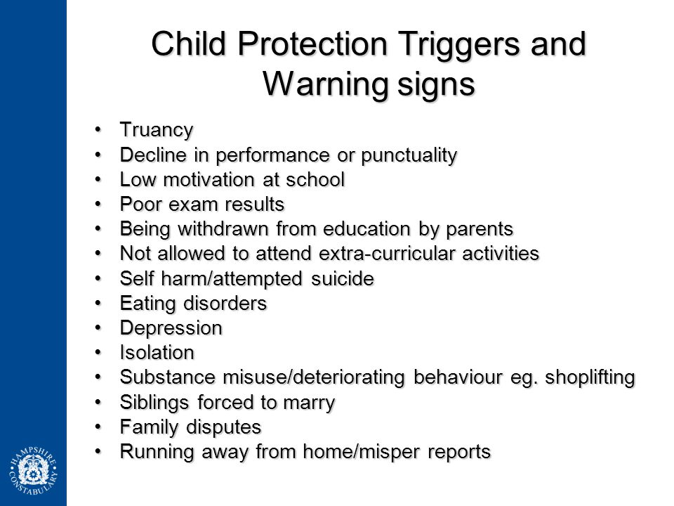 Child Protection Triggers and Warning signs