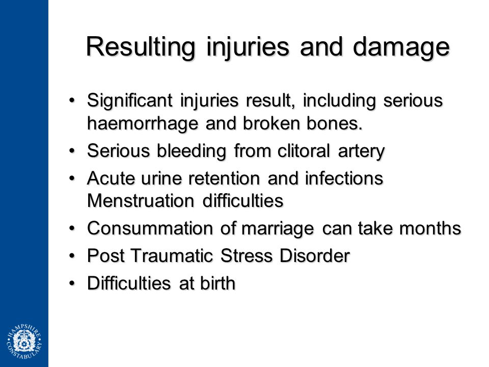 Resulting injuries and damage