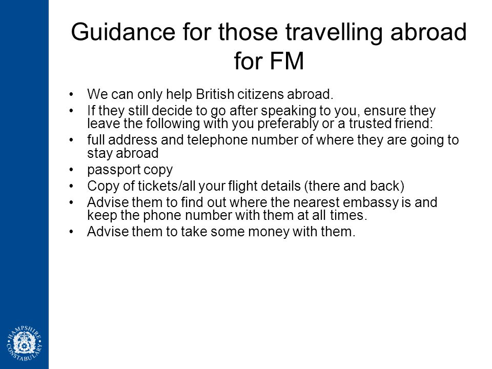 Guidance for those travelling abroad for FM