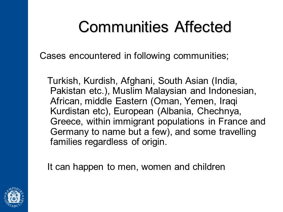 Communities Affected Cases encountered in following communities;