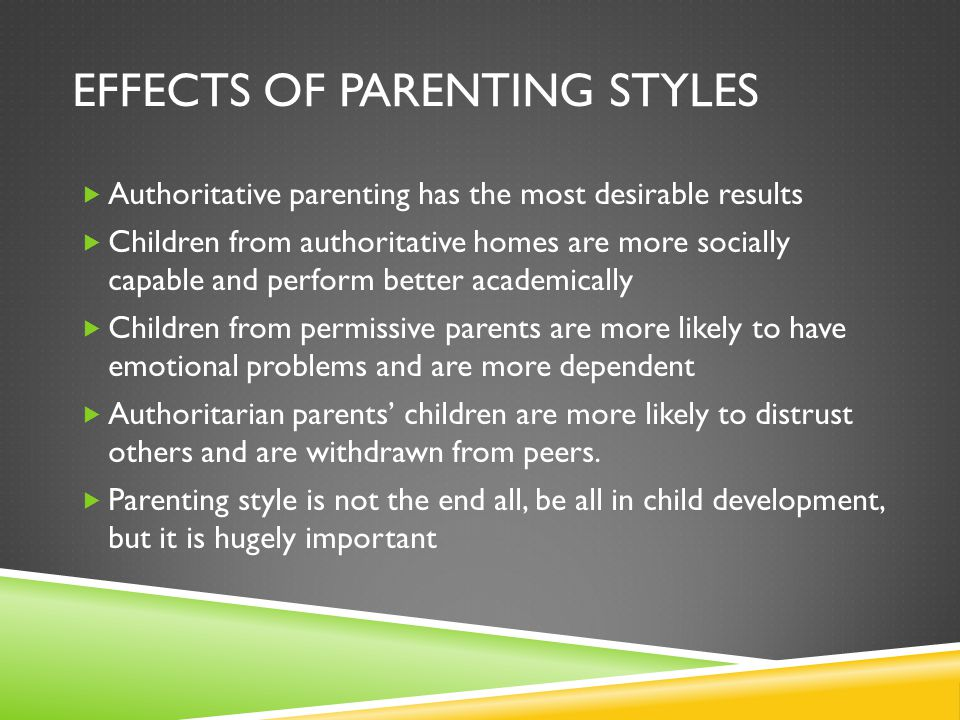 Effects of parenting styles