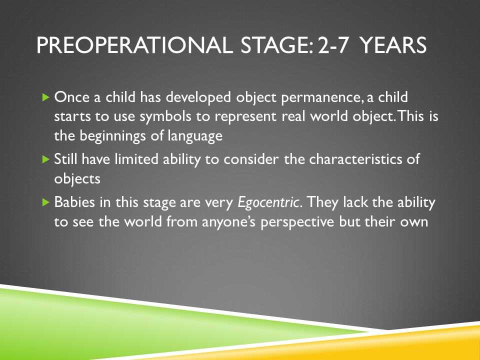 Preoperational Stage: 2-7 years