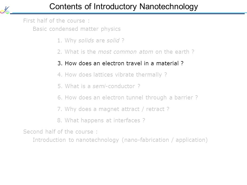 Contents of Introductory Nanotechnology