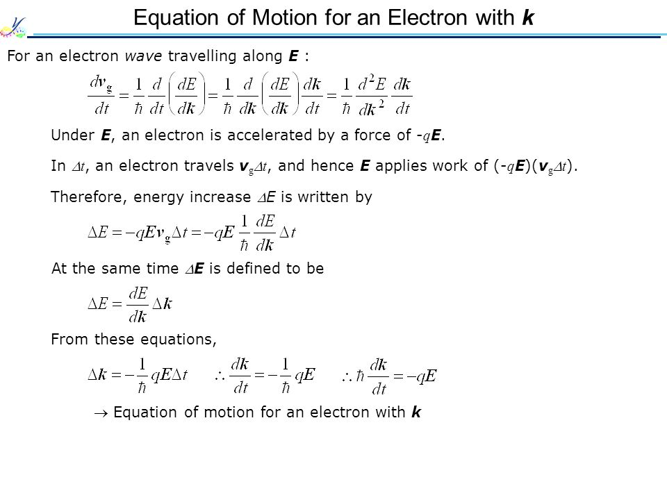 Equation of Motion for an Electron with k
