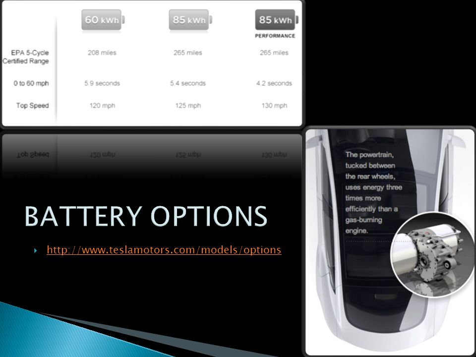 BATTERY OPTIONS http://www.teslamotors.com/models/options
