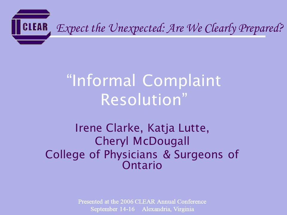 Informal Complaint Resolution