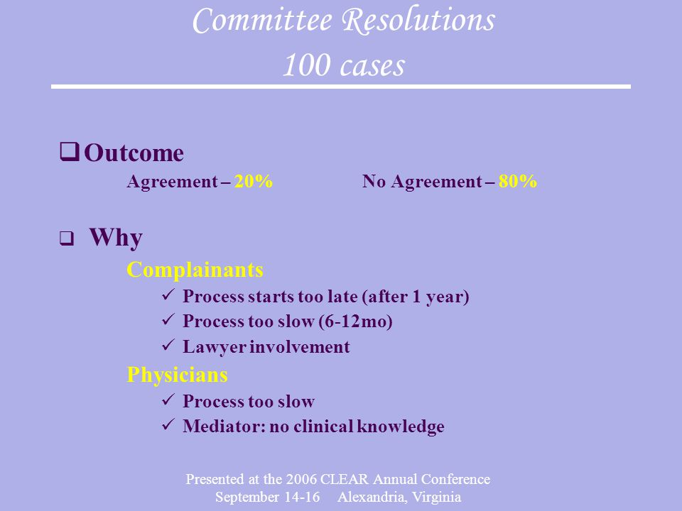Committee Resolutions 100 cases