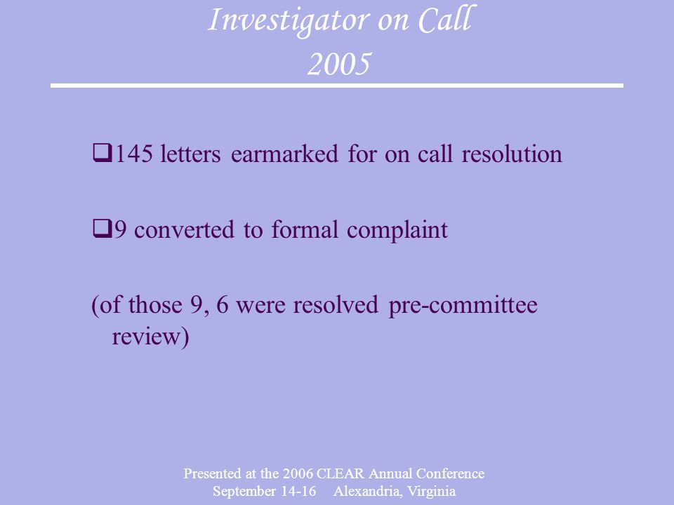 Investigator on Call 2005 145 letters earmarked for on call resolution