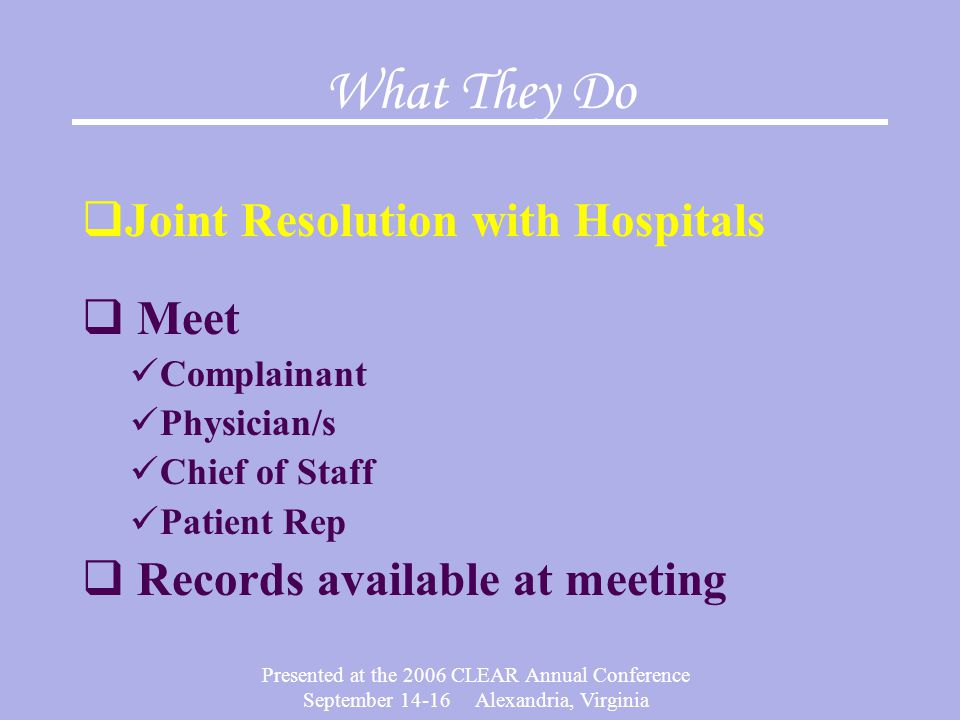 What They Do Joint Resolution with Hospitals Meet