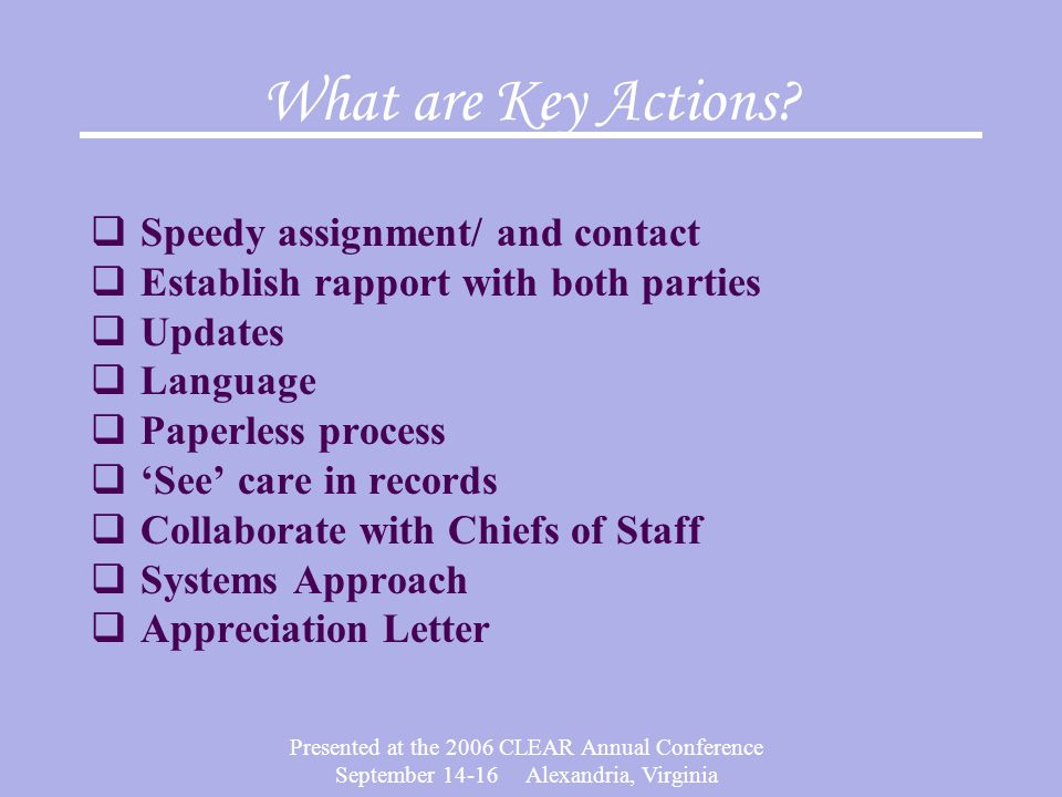 What are Key Actions Speedy assignment/ and contact