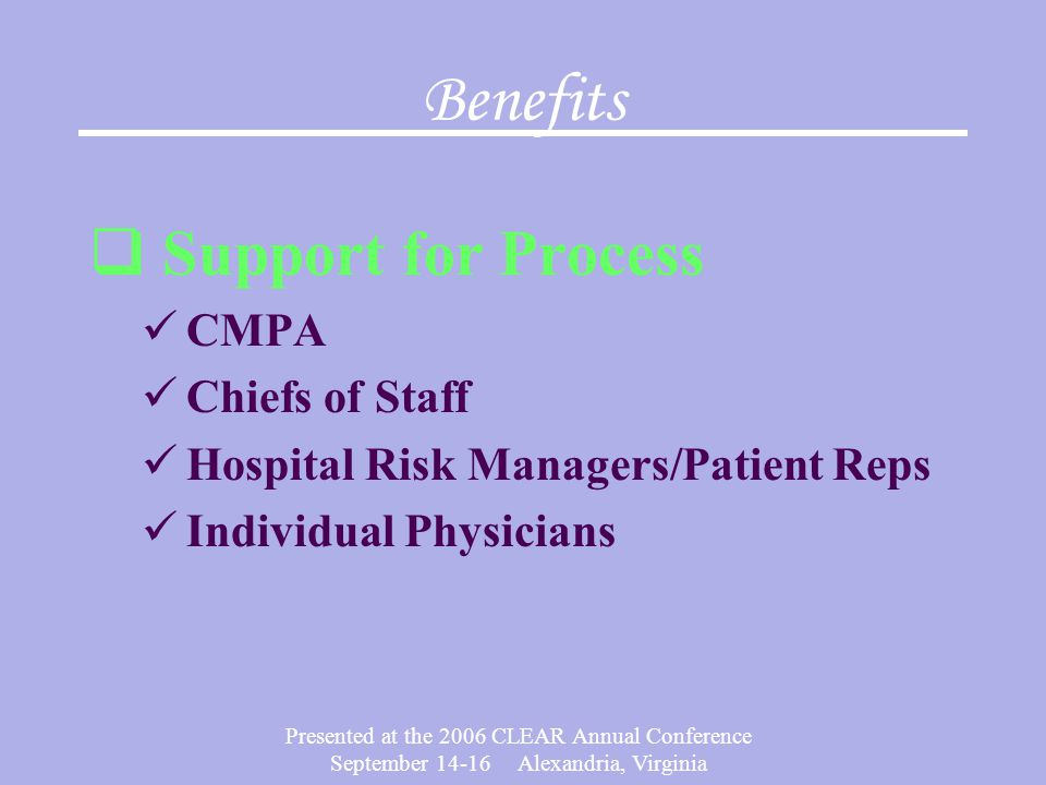 Benefits Support for Process CMPA Chiefs of Staff