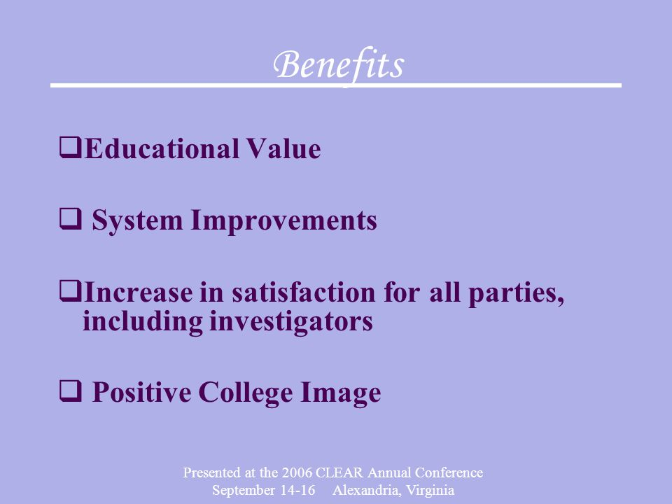 Benefits Educational Value System Improvements