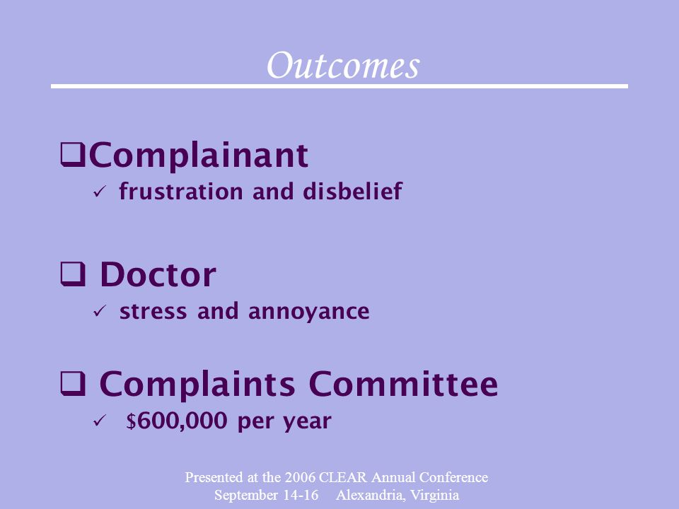 Outcomes Complainant Doctor Complaints Committee
