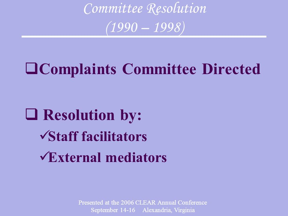 Committee Resolution (1990 – 1998)