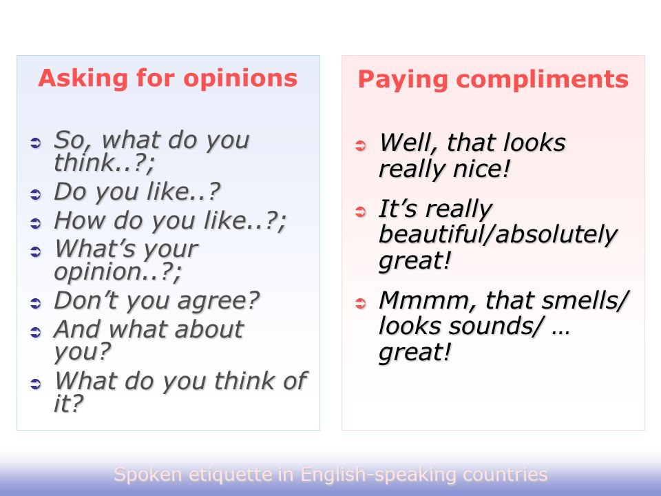 Spoken etiquette in English-speaking countries