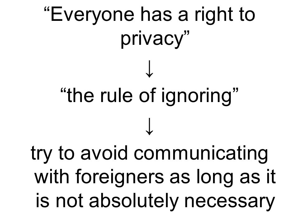 Everyone has a right to privacy ↓ the rule of ignoring try to avoid communicating with foreigners as long as it is not absolutely necessary