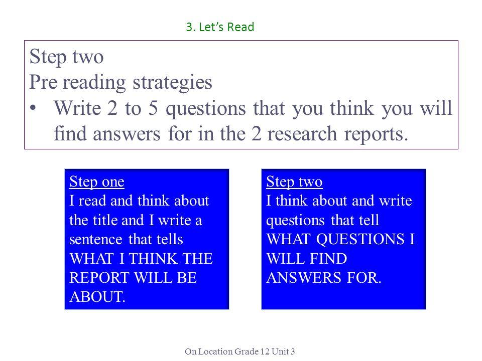 Pre reading strategies