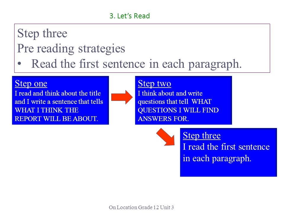 Pre reading strategies Read the first sentence in each paragraph.
