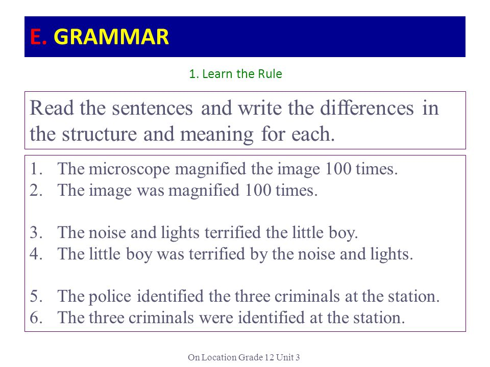 E. GRAMMAR 1. Learn the Rule. Read the sentences and write the differences in the structure and meaning for each.