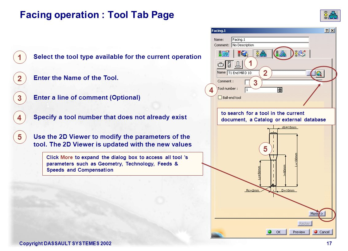 Facing operation : Tool Tab Page