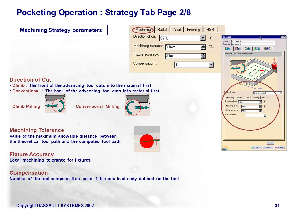 Pocketing Operation : Strategy Tab Page 2/8