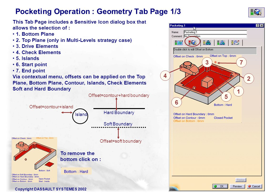 Pocketing Operation : Geometry Tab Page 1/3