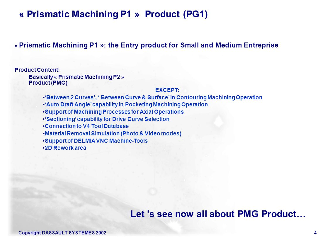 « Prismatic Machining P1 » Product (PG1)