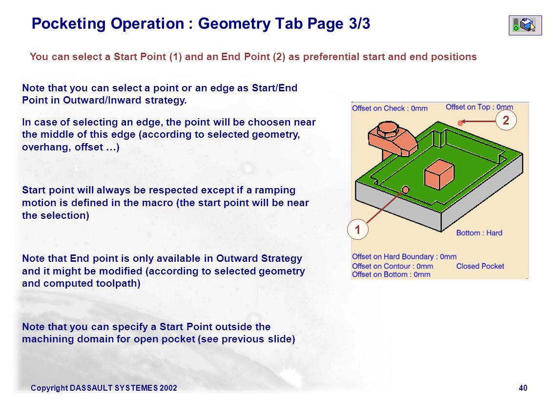 Pocketing Operation : Geometry Tab Page 3/3