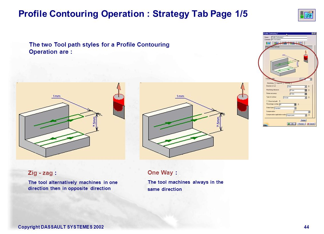 Profile Contouring Operation : Strategy Tab Page 1/5