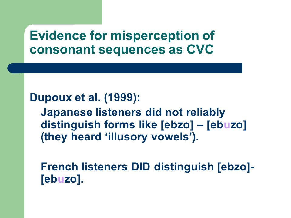 Evidence for misperception of consonant sequences as CVC