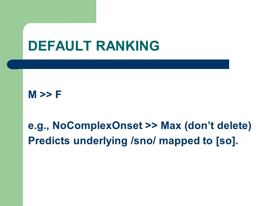 DEFAULT RANKING M >> F