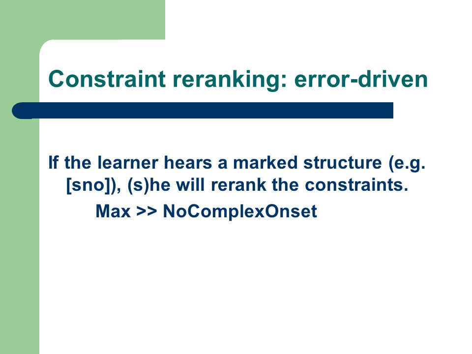 Constraint reranking: error-driven