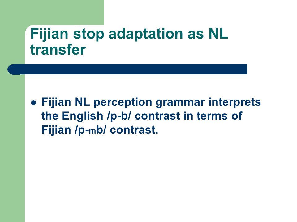 Fijian stop adaptation as NL transfer