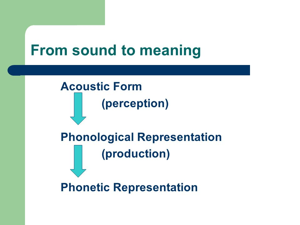 From sound to meaning Acoustic Form (perception)