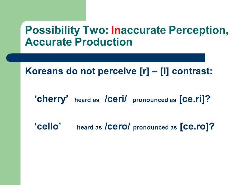 Possibility Two: Inaccurate Perception, Accurate Production