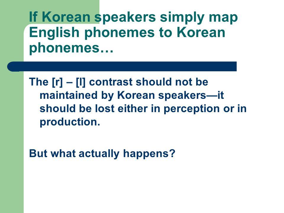 If Korean speakers simply map English phonemes to Korean phonemes…