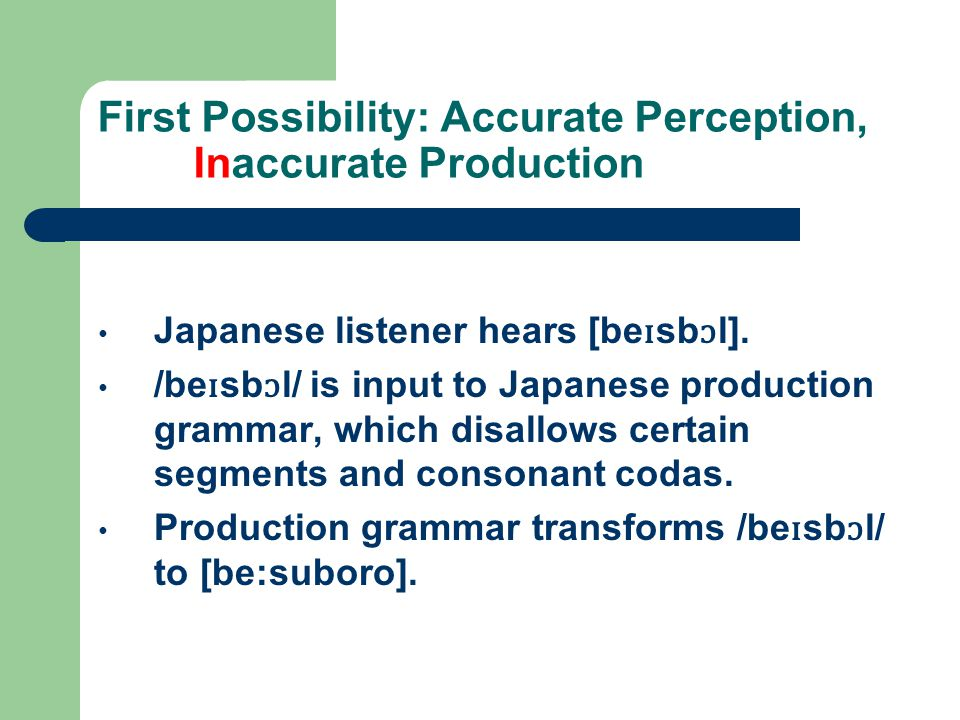 First Possibility: Accurate Perception, Inaccurate Production