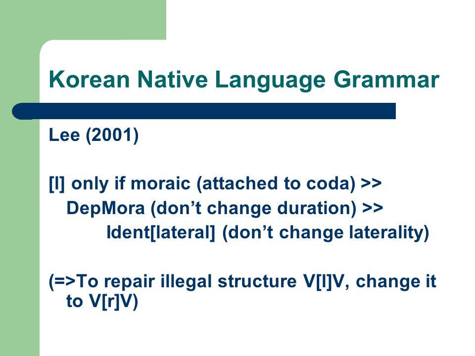 Korean Native Language Grammar