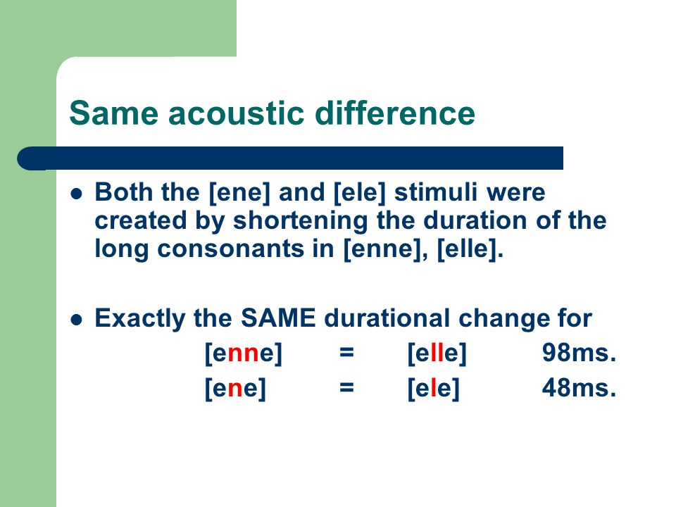 Same acoustic difference