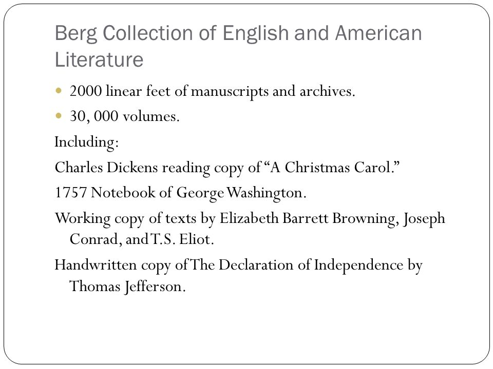 Berg Collection of English and American Literature