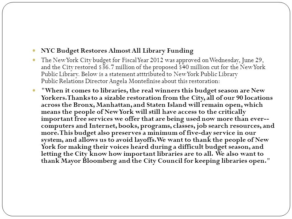 NYC Budget Restores Almost All Library Funding