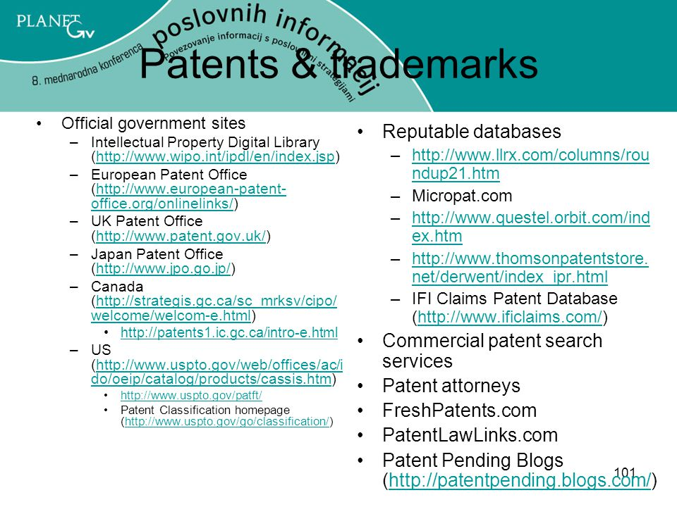 Patents & trademarks Reputable databases