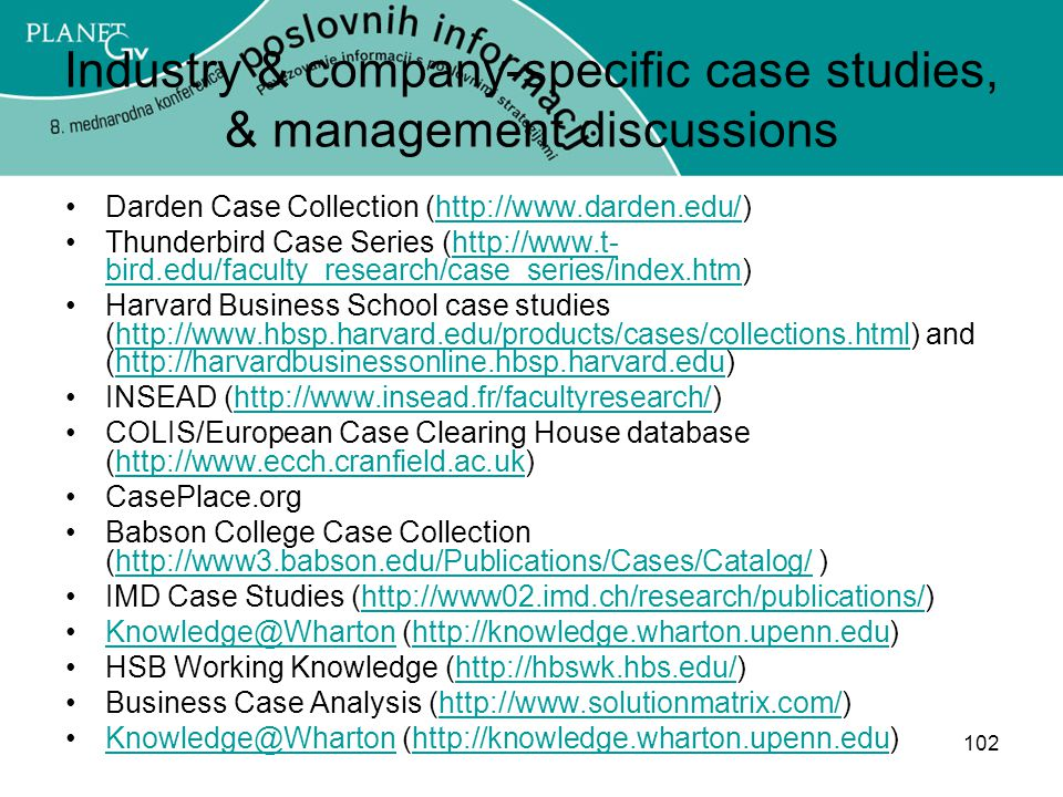 Industry & company-specific case studies, & management discussions