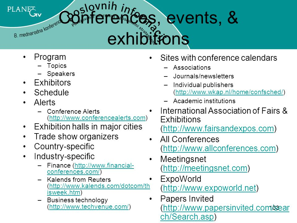 Conferences, events, & exhibitions