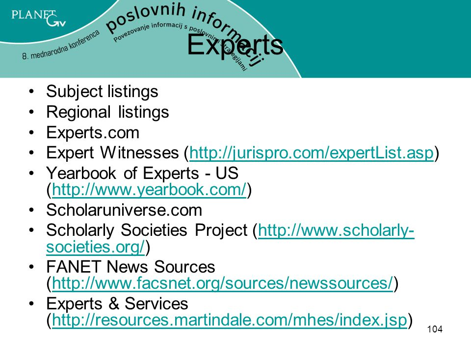 Experts Subject listings Regional listings Experts.com