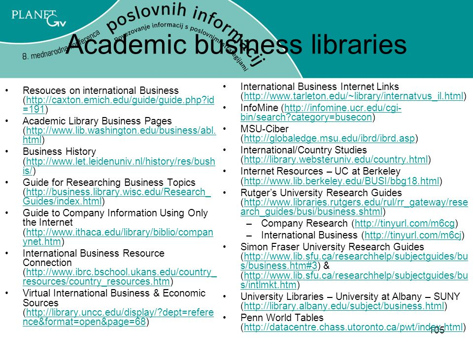 Academic business libraries