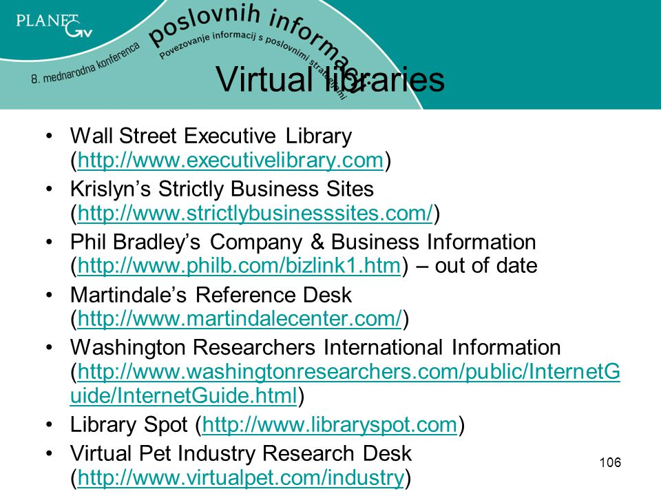 Virtual libraries Wall Street Executive Library (http://www.executivelibrary.com)