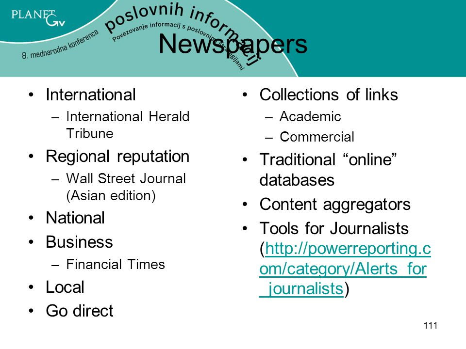Newspapers International Regional reputation National Business Local