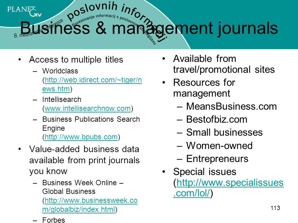 Business & management journals