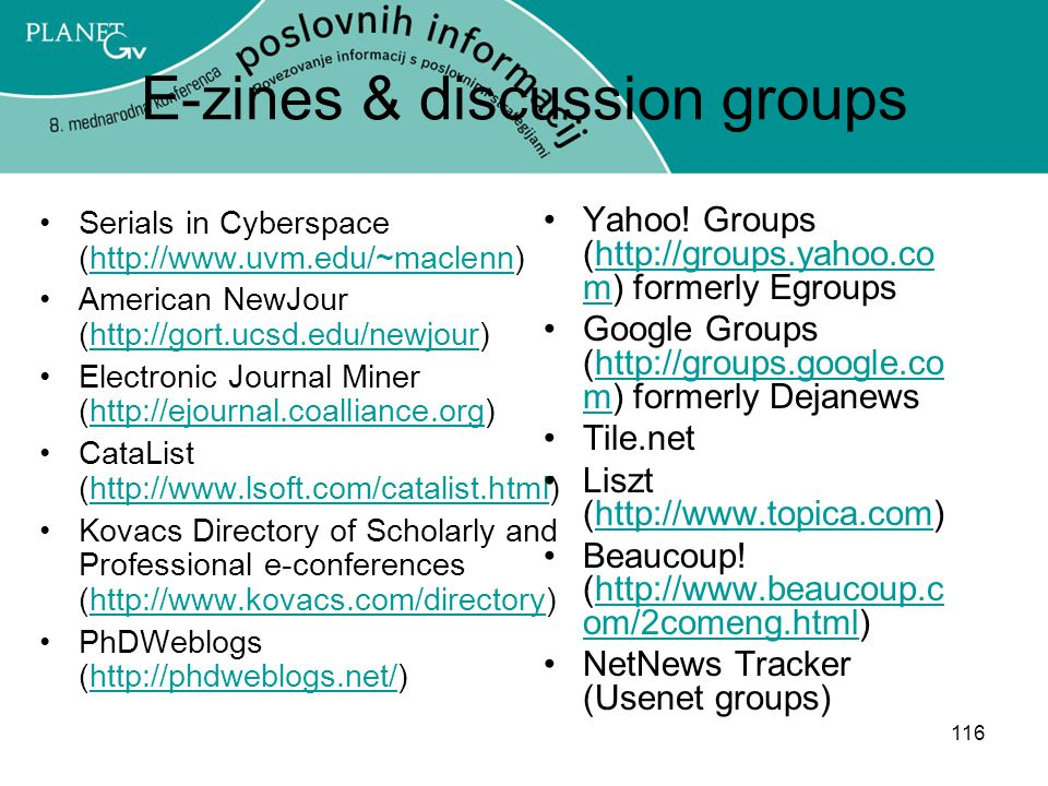 E-zines & discussion groups
